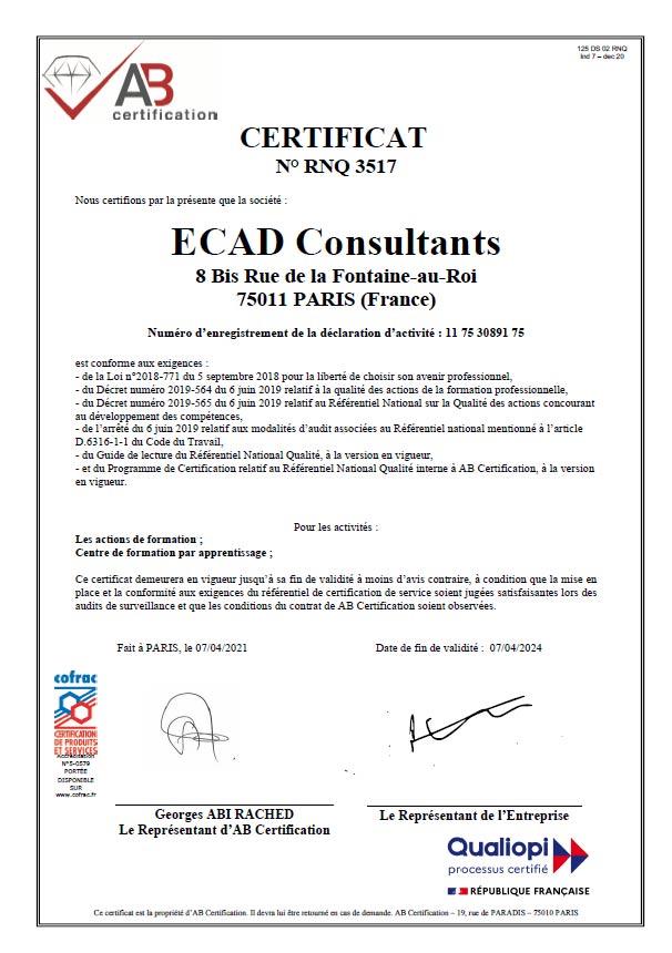 Certificat Qualiopi Digital Campus Paris