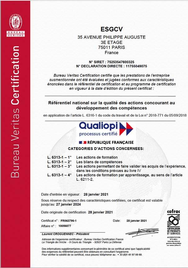 Certificat Qualiopi ESGCV Digital Campus
